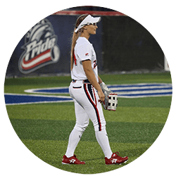 Kirsti Merritt playing for the USSSA Pride in a pair of Ringor Diamond Dynasty Cleats.