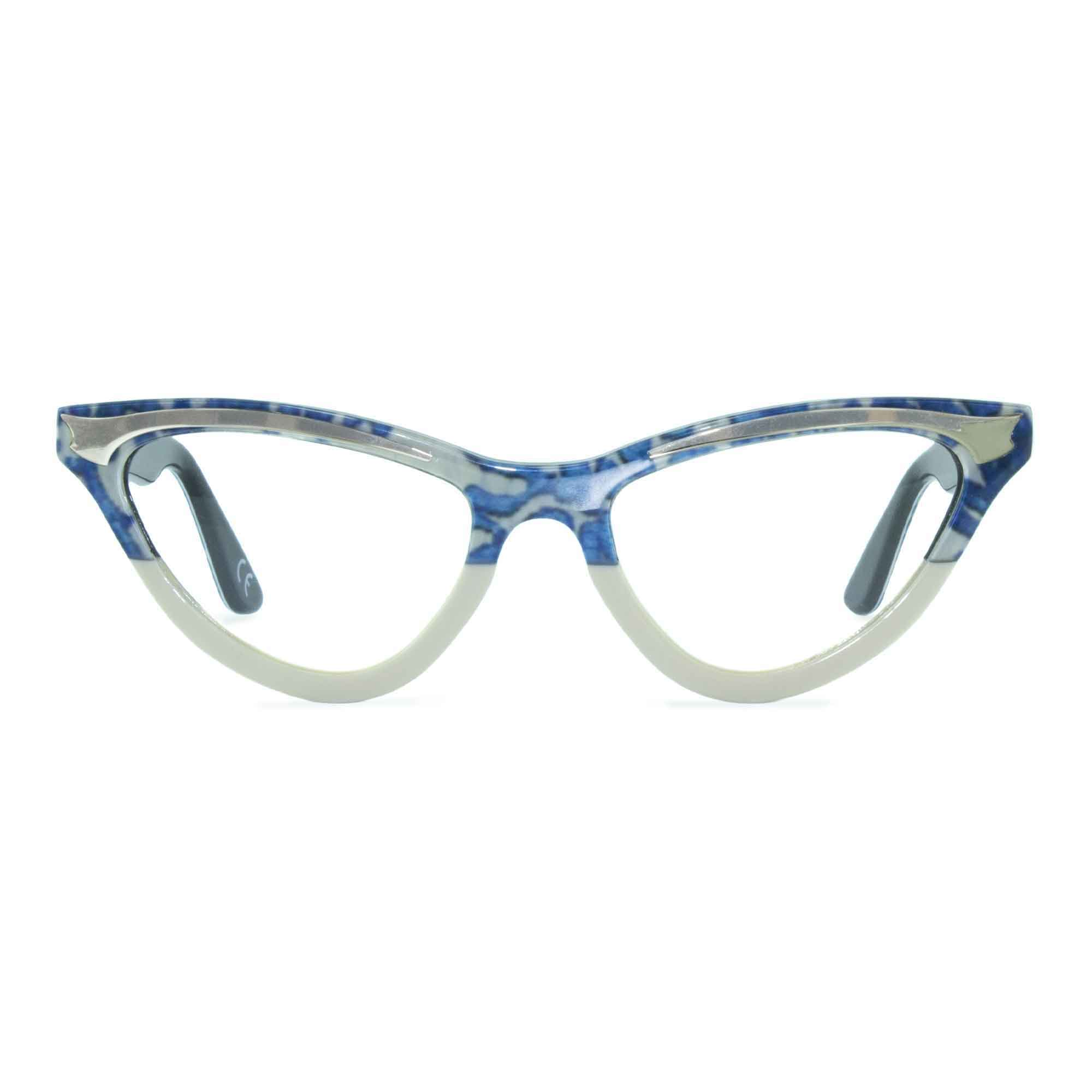 Joiuss maryloo blue lace & cream cat eye glasses