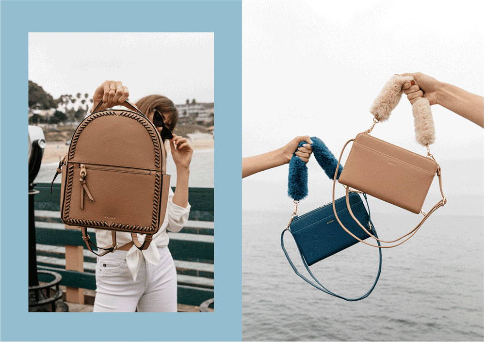 CALPAK Kaya backpack in caramel color and travel wallet in deep sea color