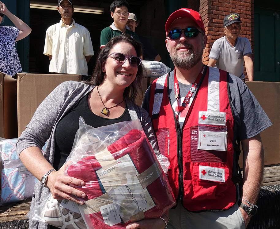 Donating blankets to the Red Cross