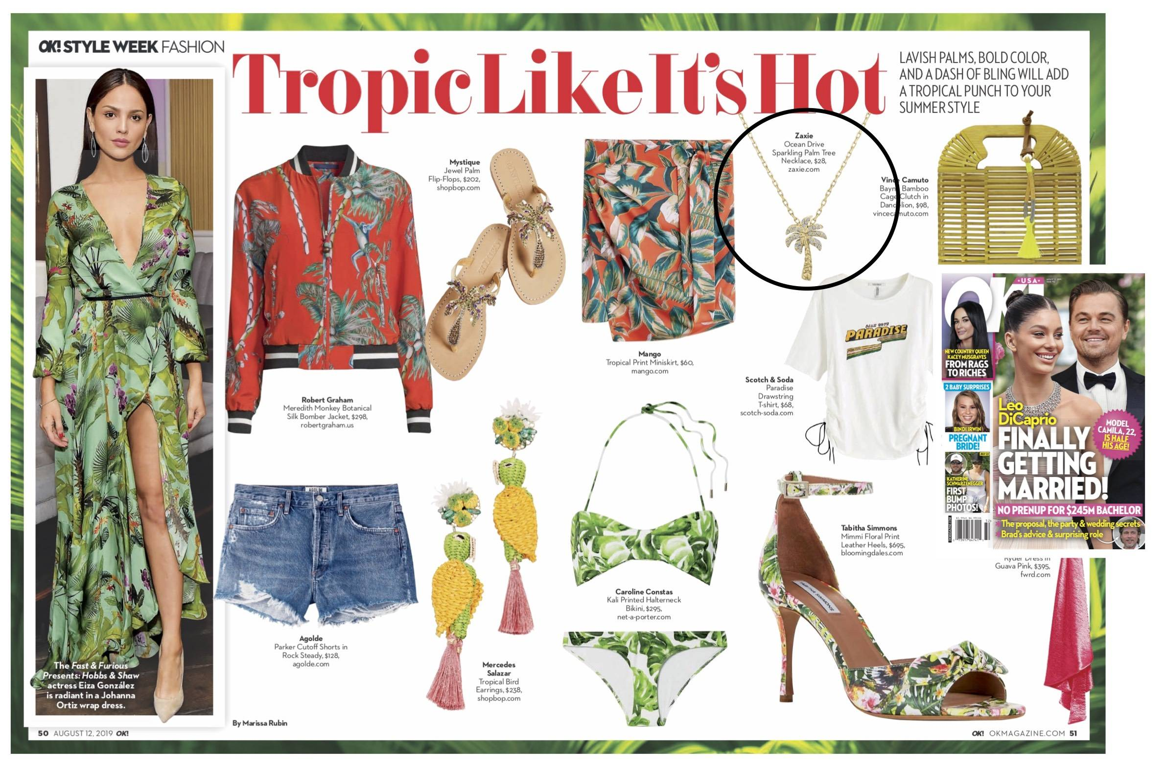 ZAXIE Palm Tree Necklace in US Weekly