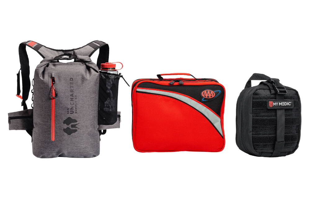 Survival Backpack, AAA Car emergency kit, and MyMedic first aid kit