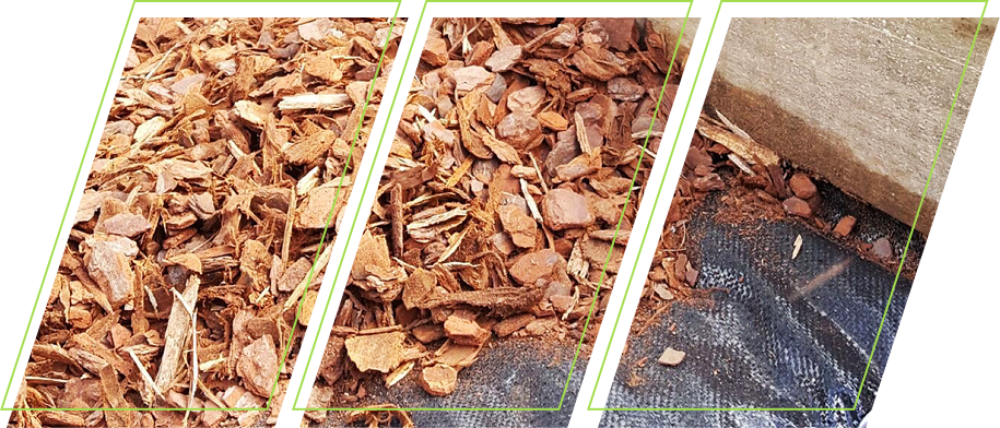 Wood chippings on top of landscape fabric