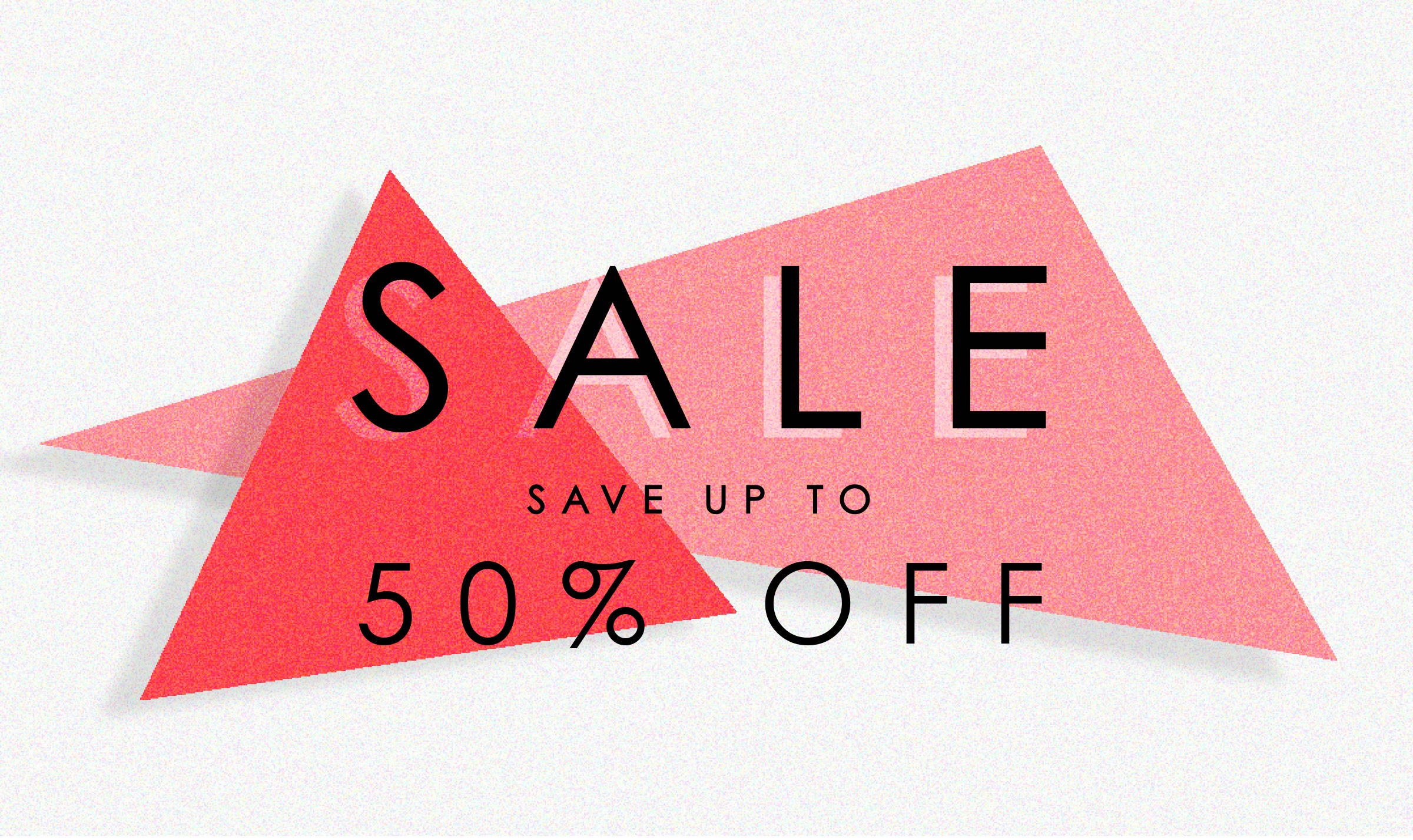 Sale banner up to 50 percent off