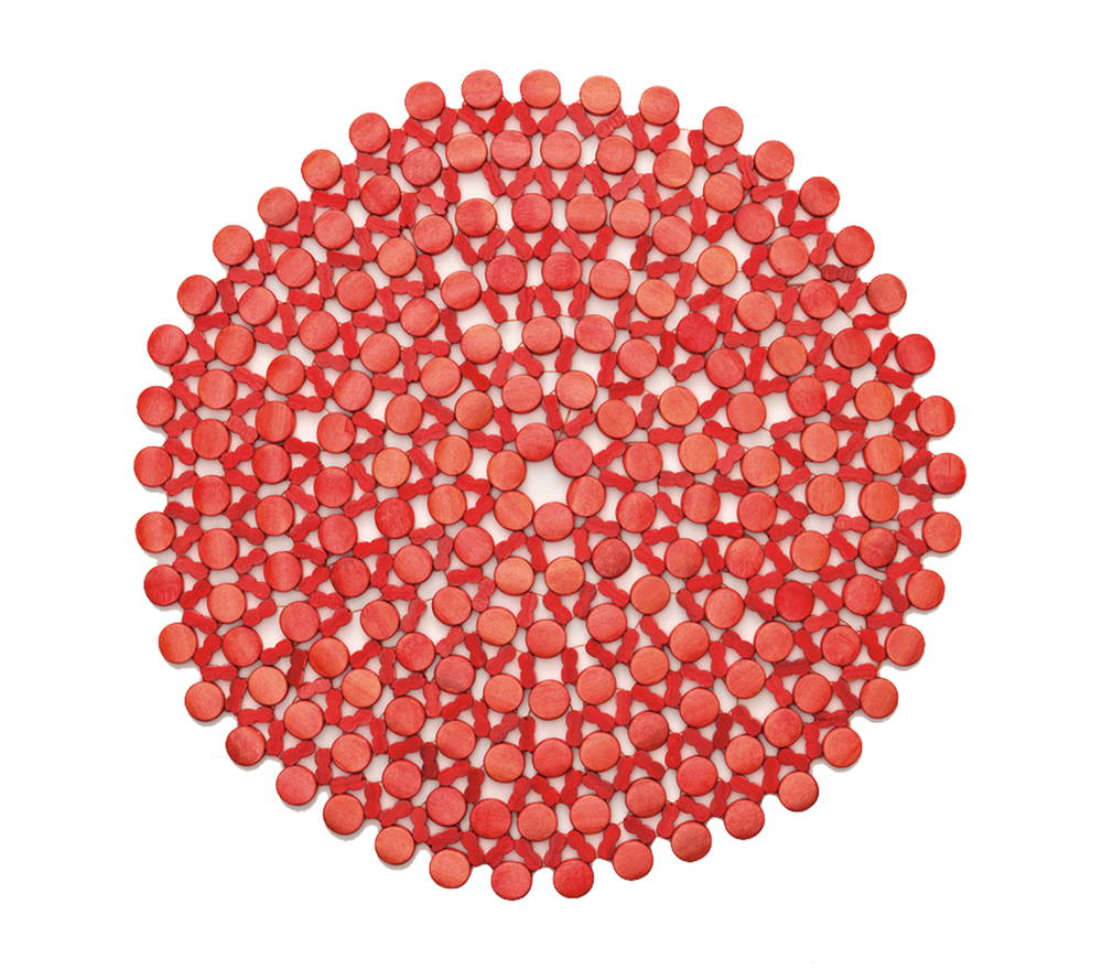 ROUND BAMBOO PLACEMAT IN CORAL