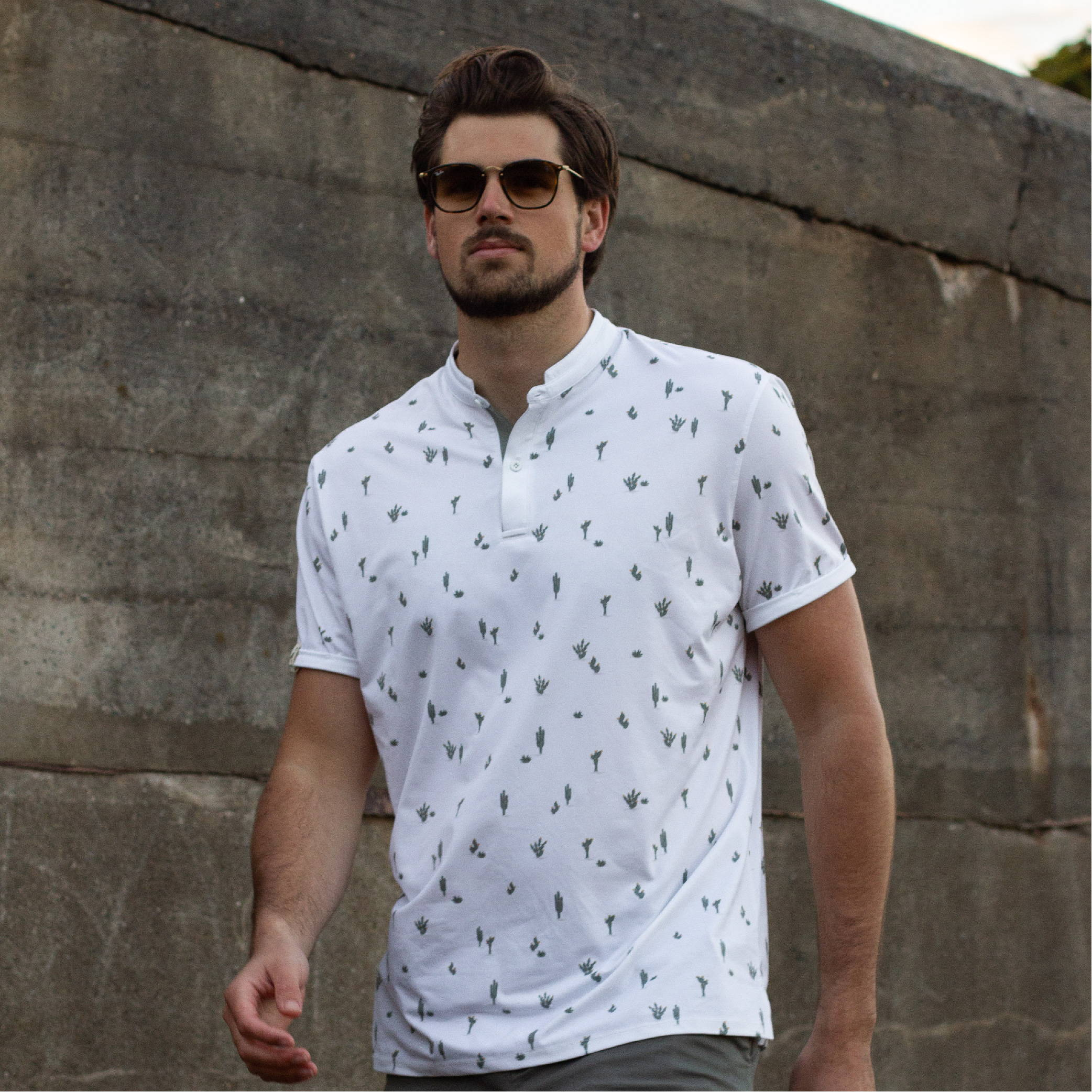 MANTRA The Cacti Polo - sustainable mens polo made in the USA from repurposed materials