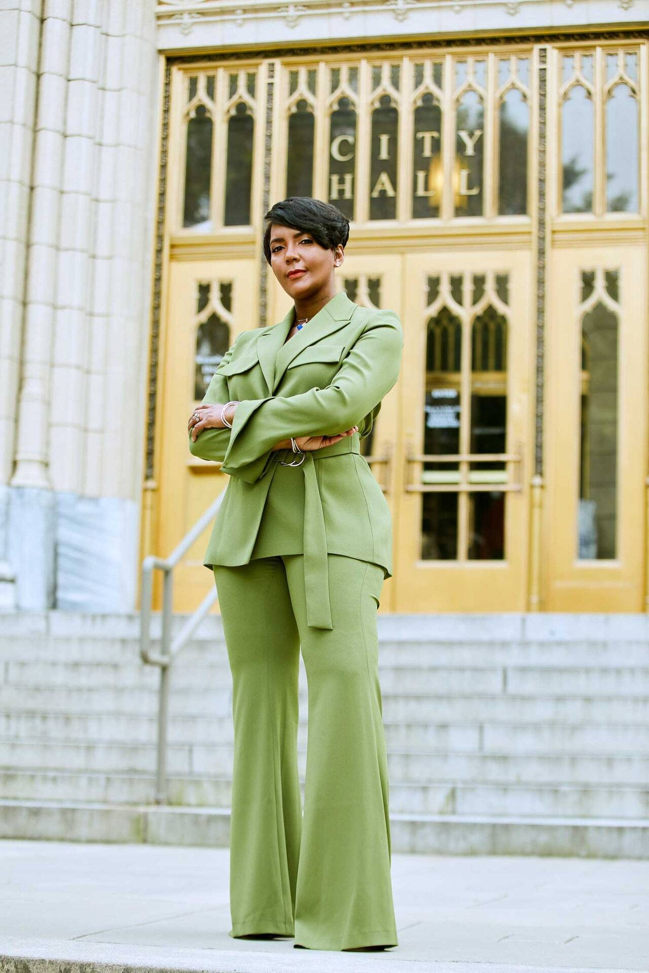 Mayor of Atlanta Keisha Lance Bottoms wearing Galvan London Belted Khaki Green Blazer Jacket