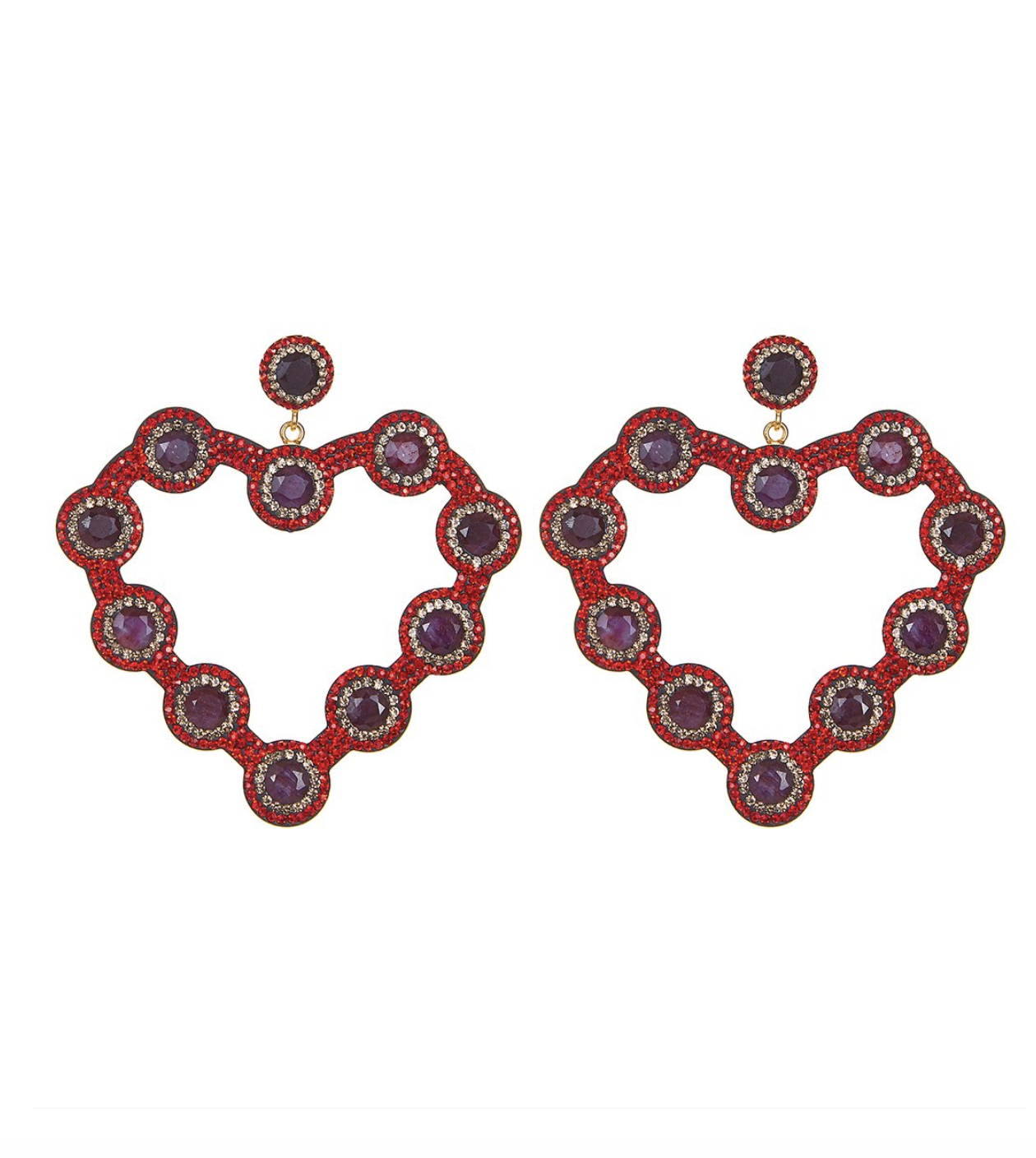 soru jewellery red love heart earrings, ruby heart earrings, red crystal heart earrings