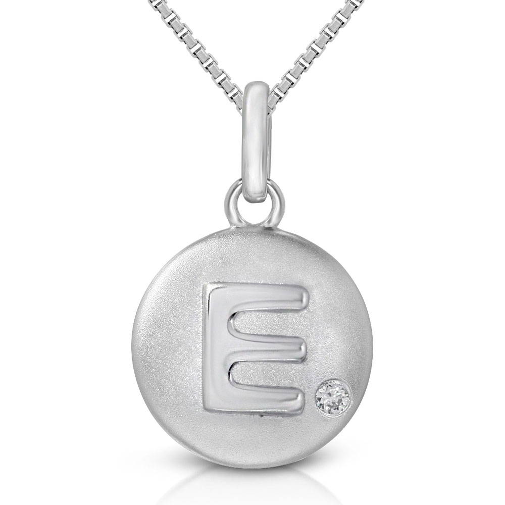 Pure at Birth letter E pendant with greek box necklace