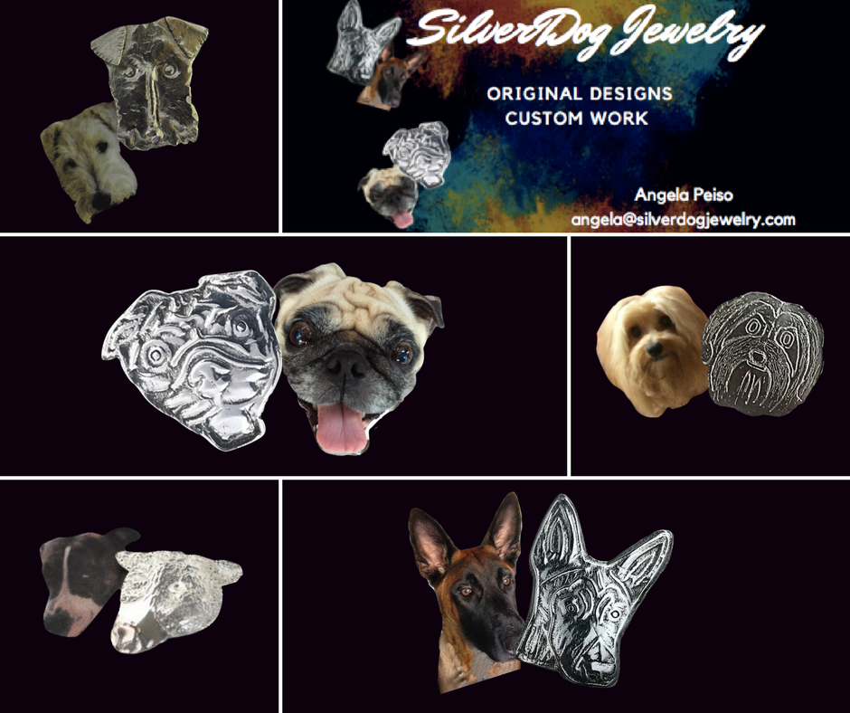 Collage of sterling dog pendants; pug, belgian malinois, pit bull, terrier, yorkie