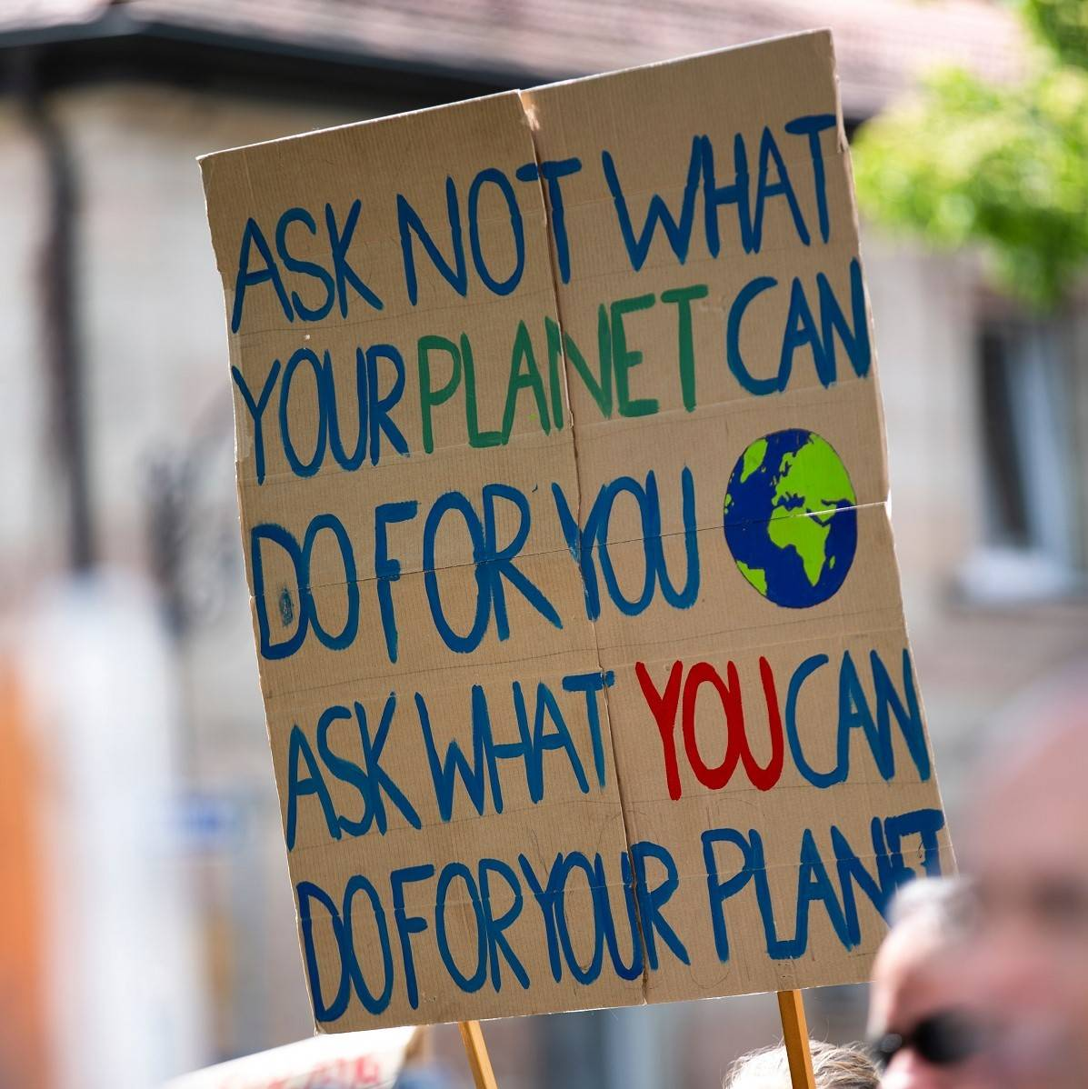A climate change protest sign