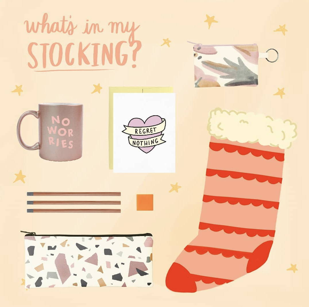 Funny coffee mug, cute greeting card, coin purse keyring, pencil kit and a stocking illustration.