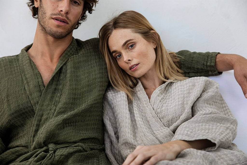 Linen Waffle Robes in Forest and Natural
