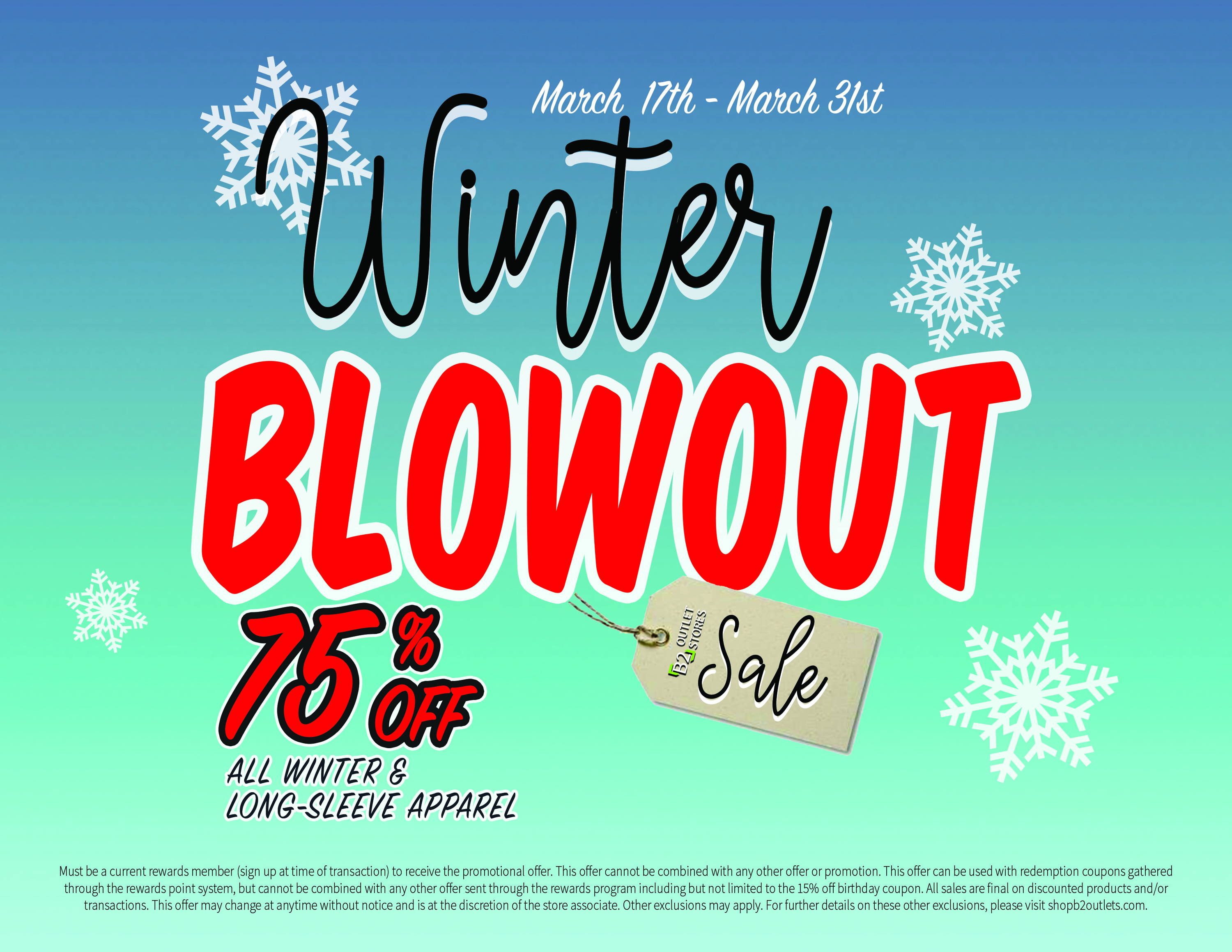 75% off offer, everything winter or long-sleeved is 75% off, b2 outlet stores