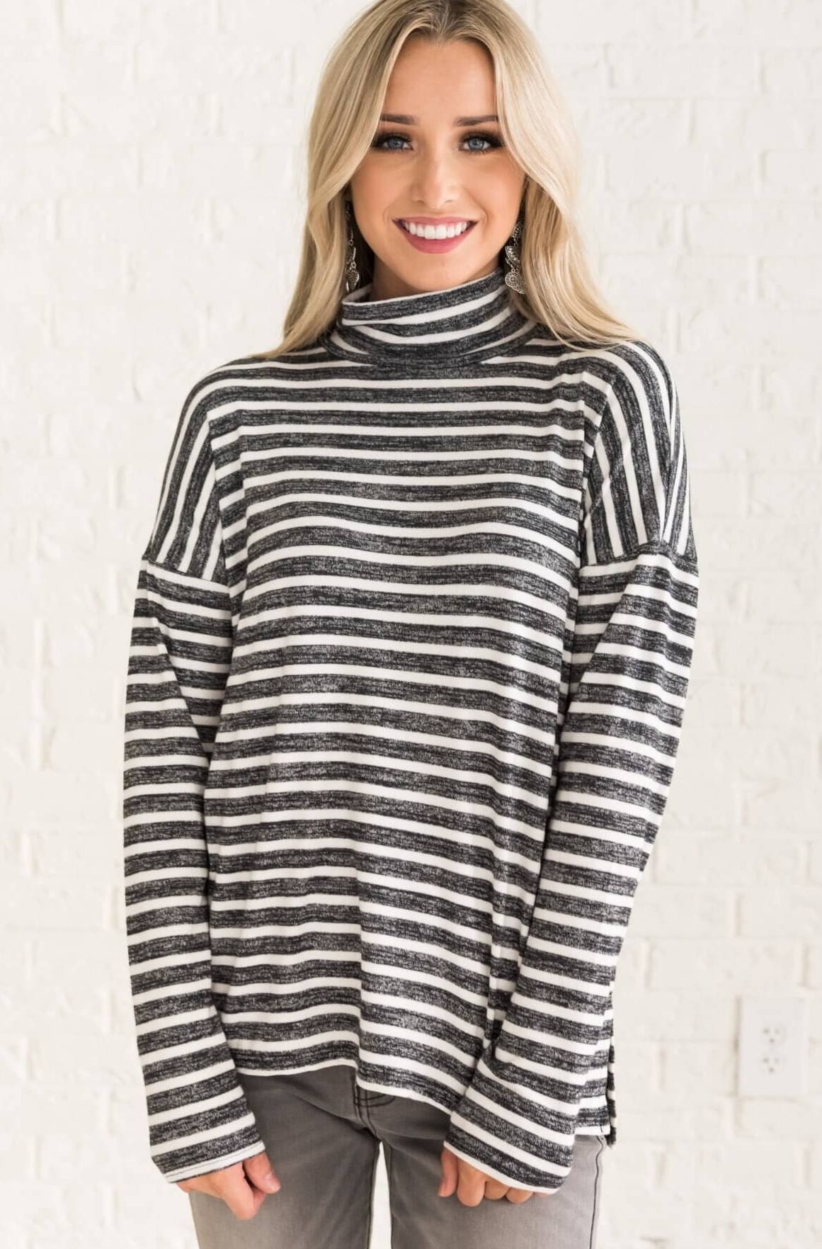 Charcoal Gray White Striped Cute Pullover Turtleneck Top