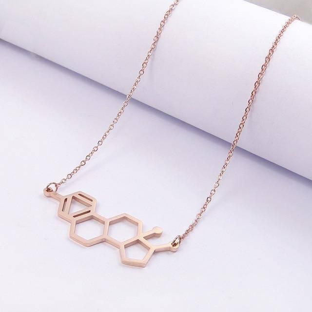 HRT Estrogen Molecule Necklace