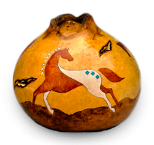 Beautiful Southwestern Gourd Art with Horse by Christy Barajas