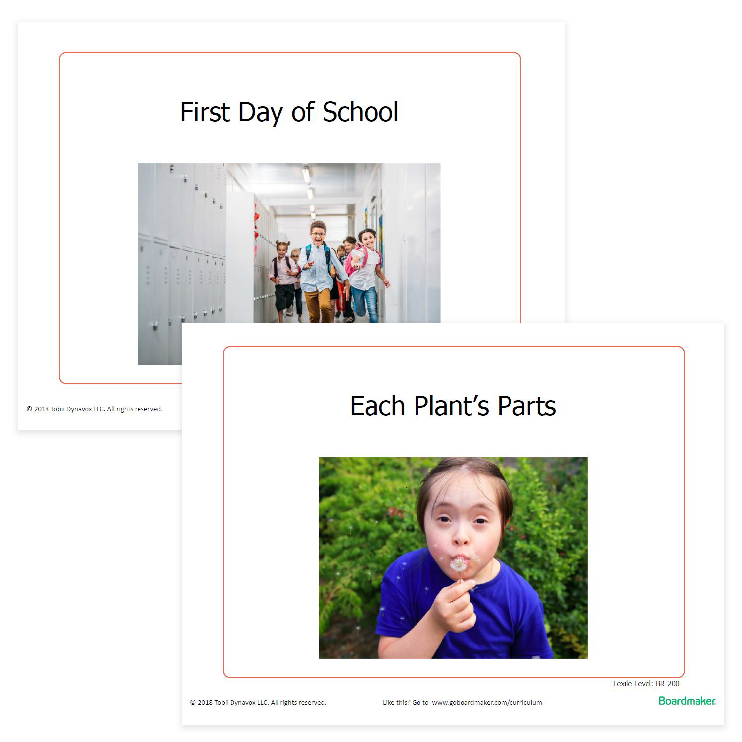 Two pictures showing Boardmaker Activities to Go