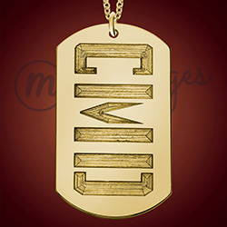 3 Initial Gold Dog Tag