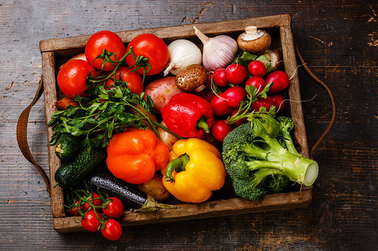 Image Of Vegetables In Wooden Draw