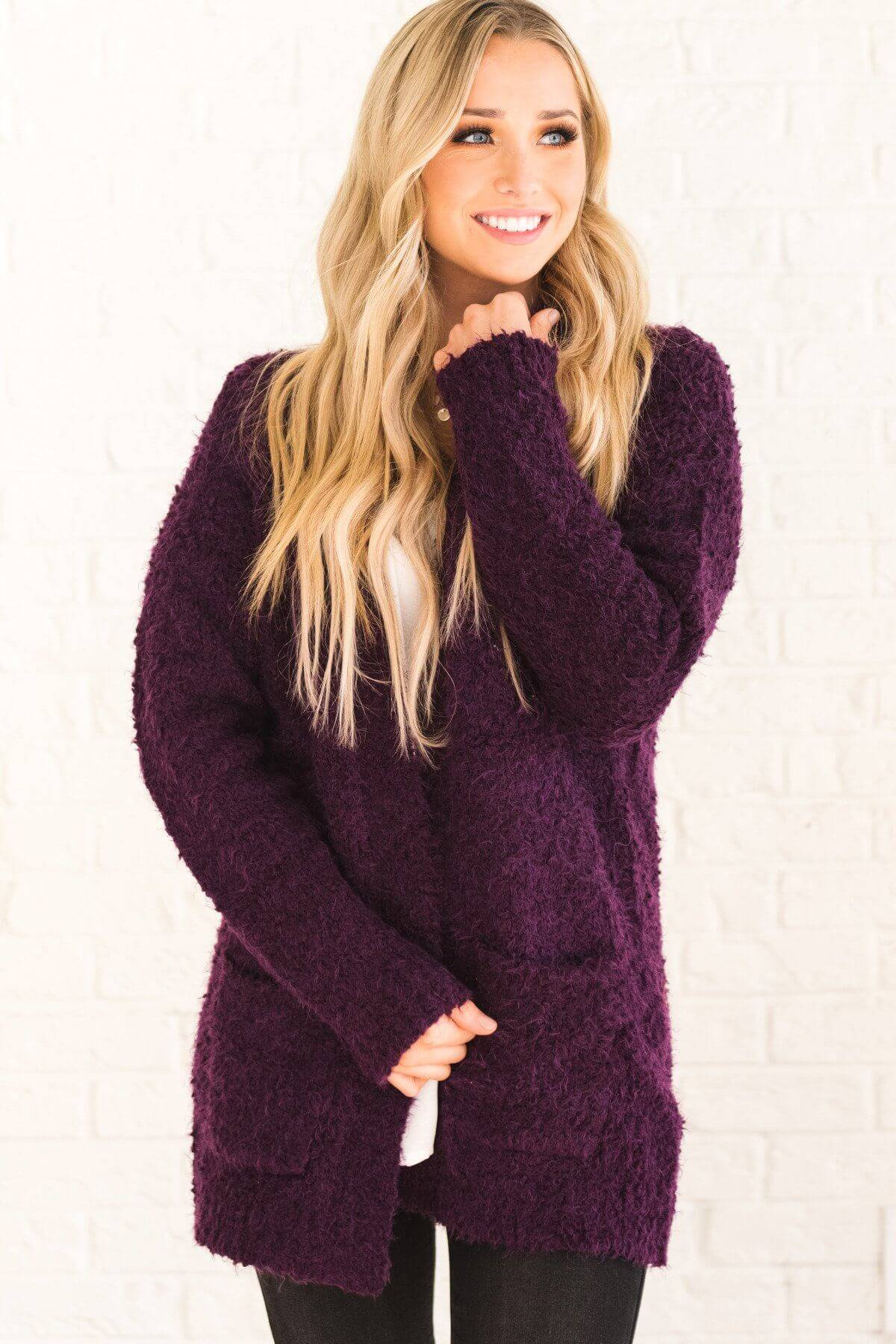 Purple Fuzzy Eyelash Knit Cardigan Sweater with Pockets