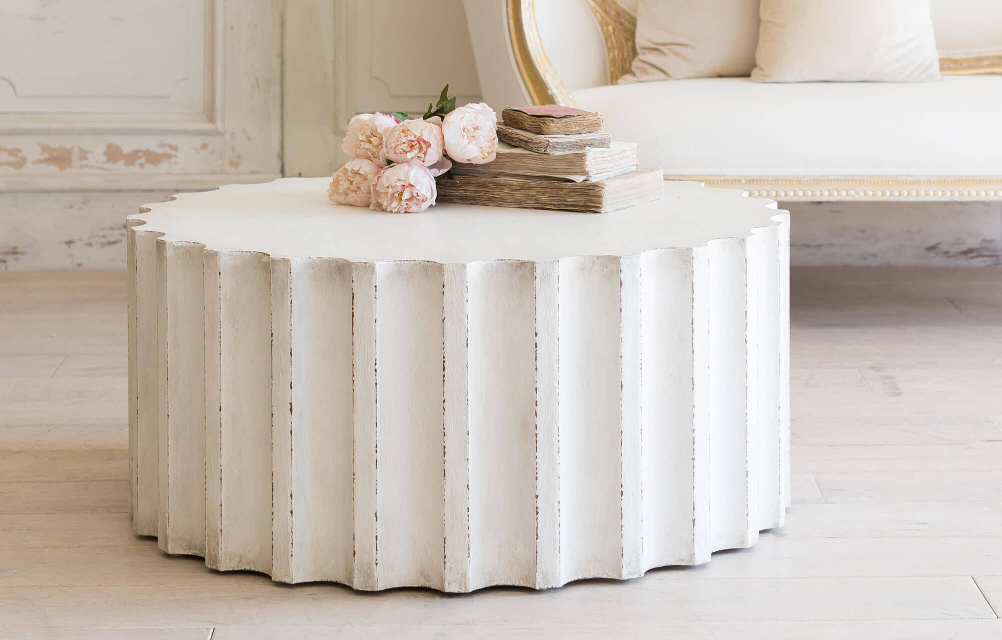 Eloquence® Grande Column Coffee Table in Plaster White Finish