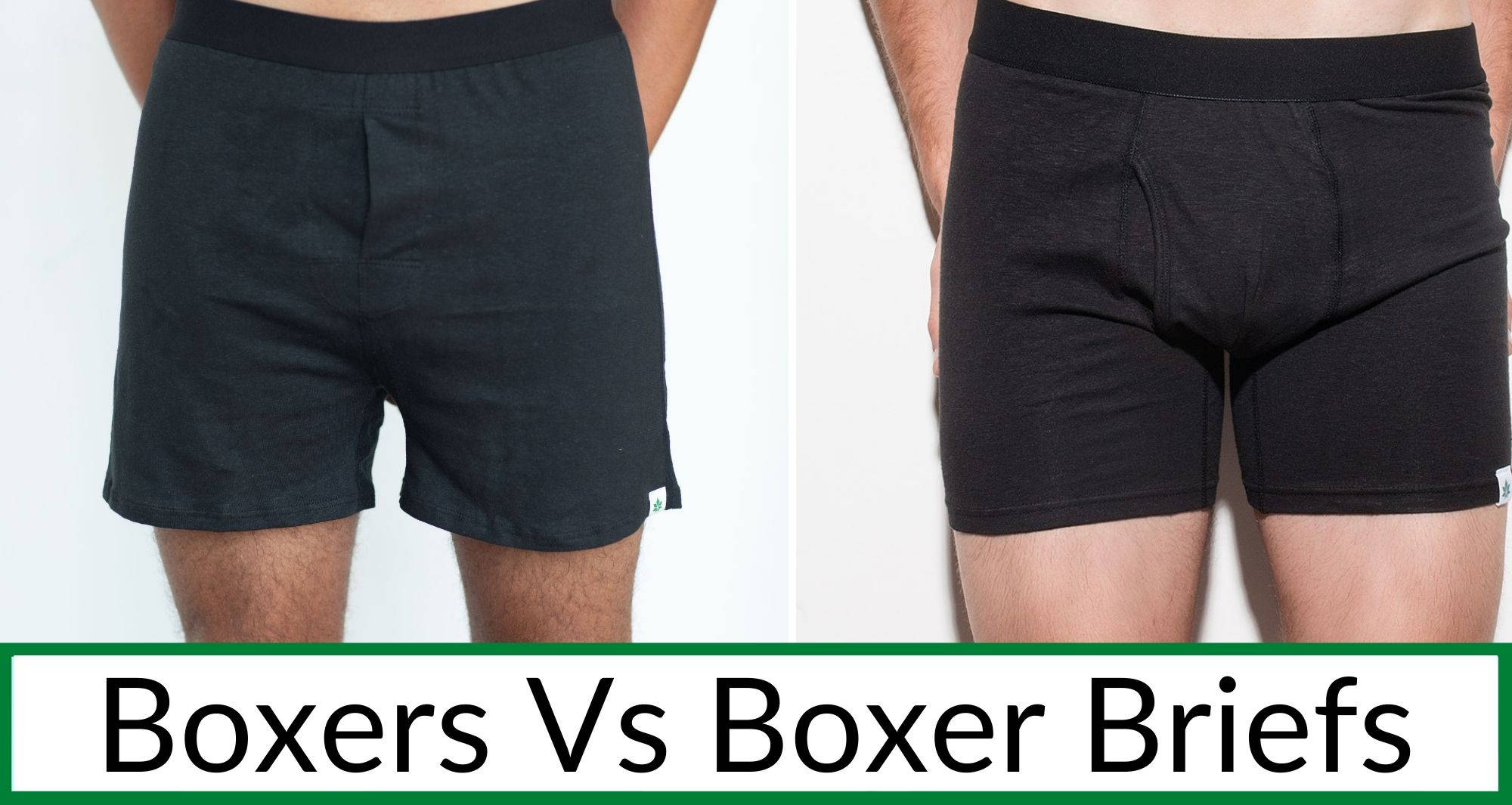Two men stand wearing boxers vs boxer briefs in black hemp material