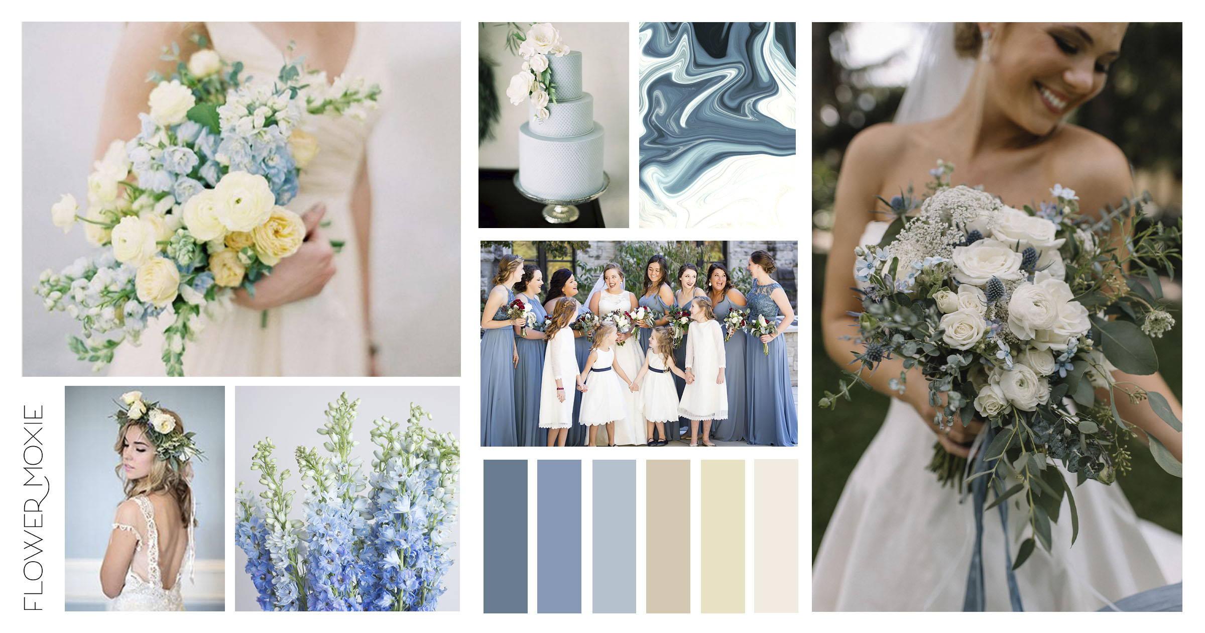 Dusty Blue Cream Wedding Flower Moodboard Diy Wedding Flower Packages Flower Moxie