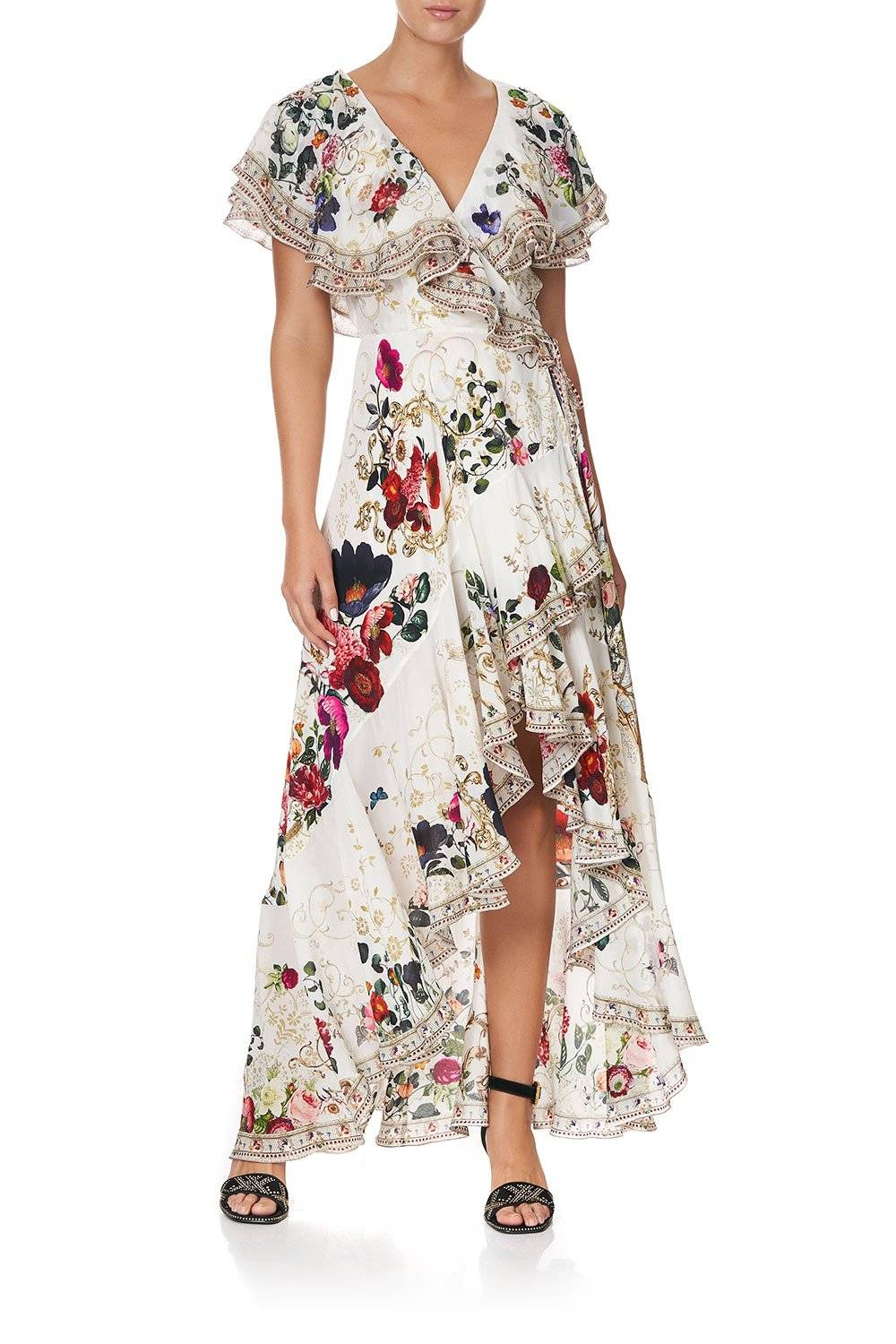 CAMILLA white midi wrap dress with frill and floral print.