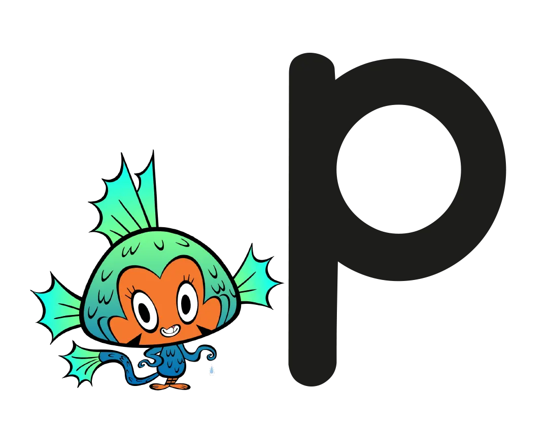 Illustrated character next to the grapheme p