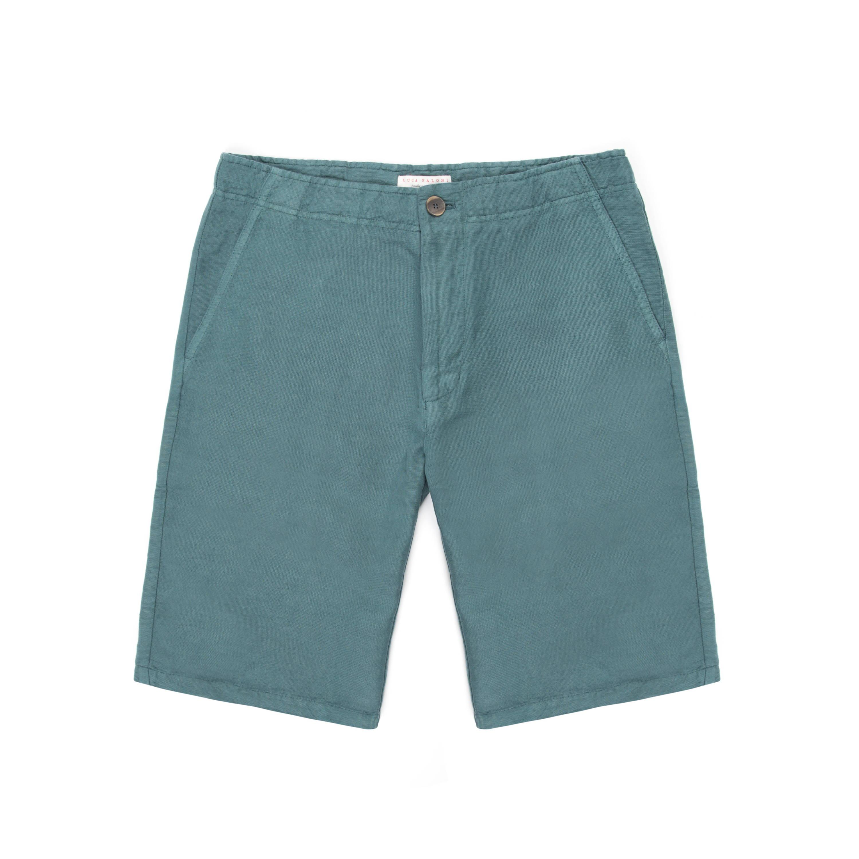 Luca Faloni Marine Green Panarea Linen Shorts Made in Italy