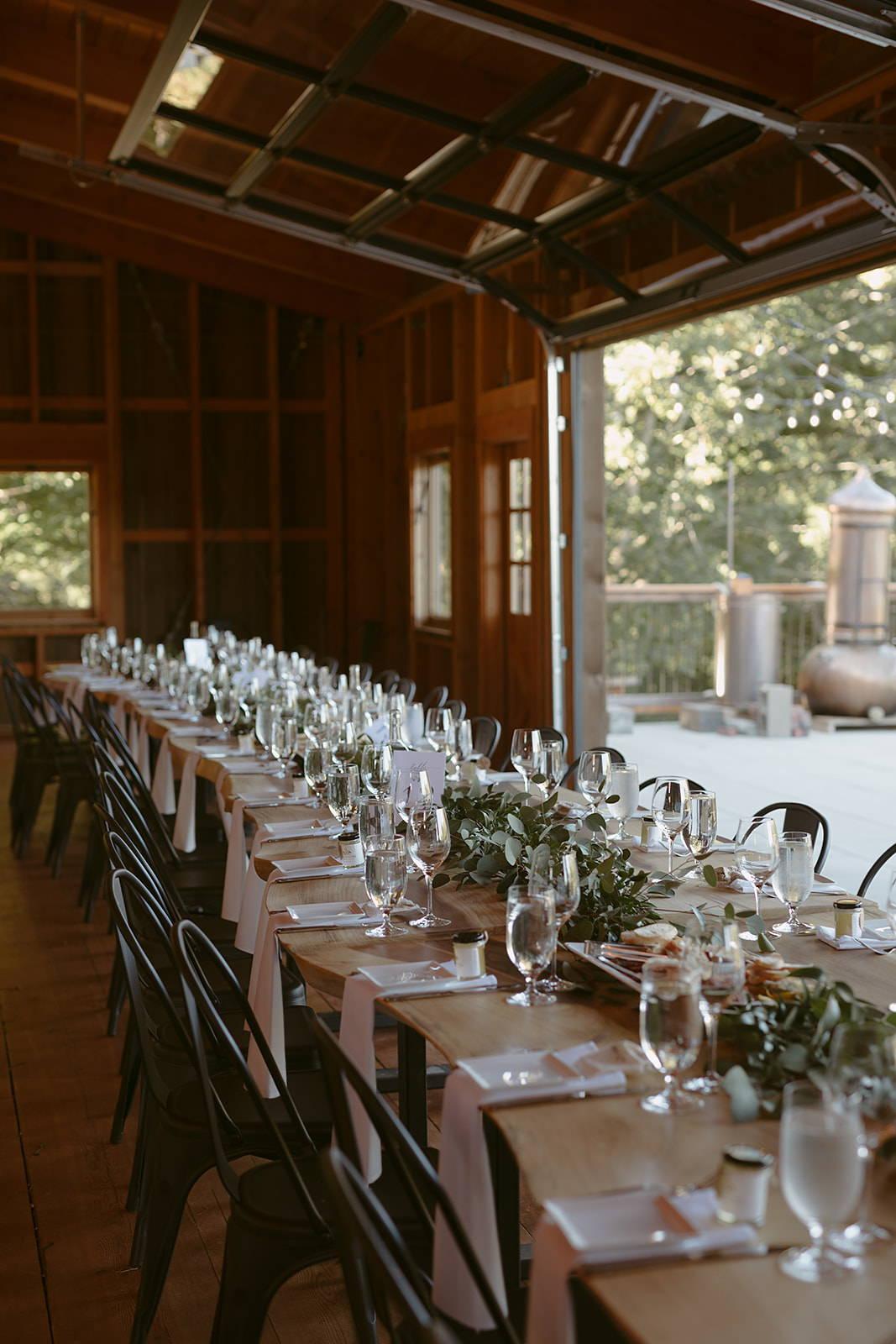long table dinner in a barn