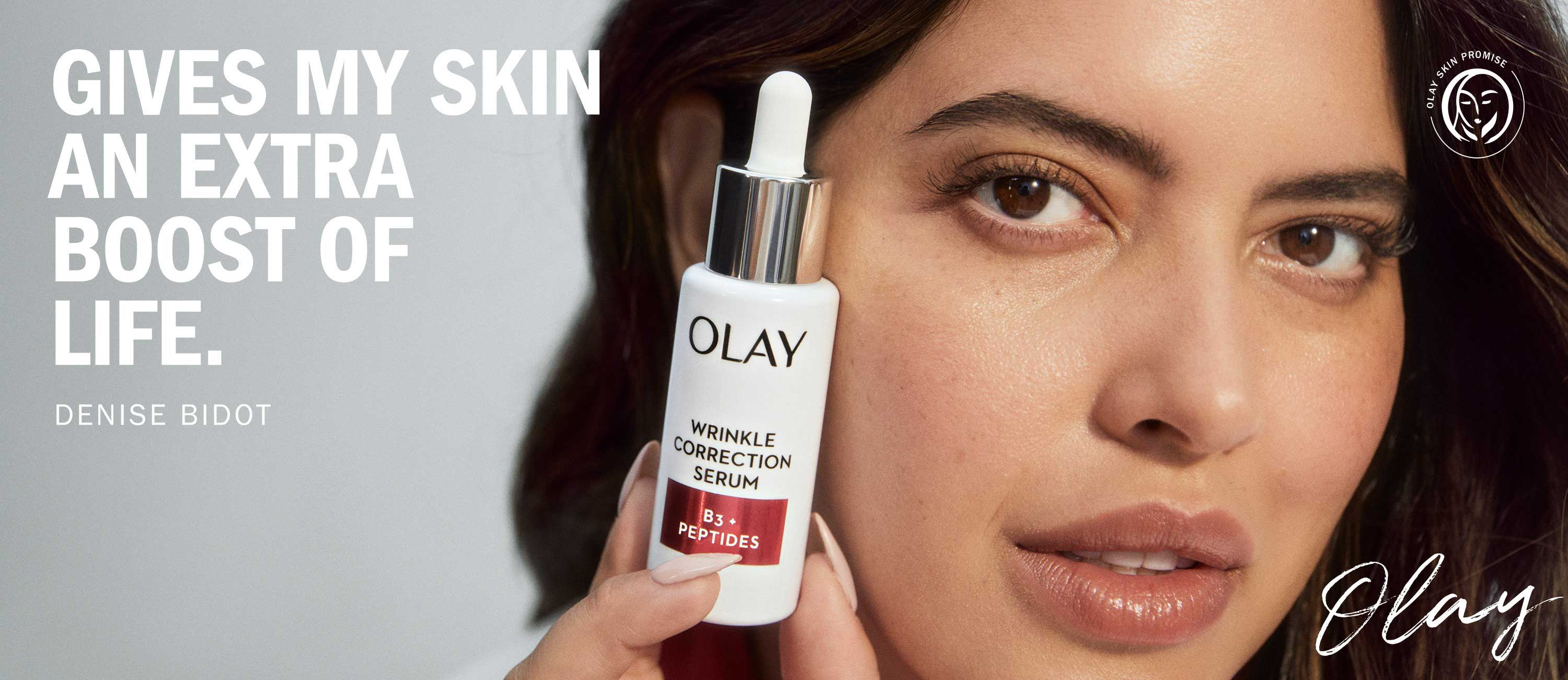 Home page Banner: Denise Bidot.. olay gives m skin an extra boost of life campaign.