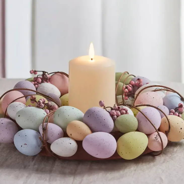 Easter egg wreath with TruGlow candle illuminated in the centre