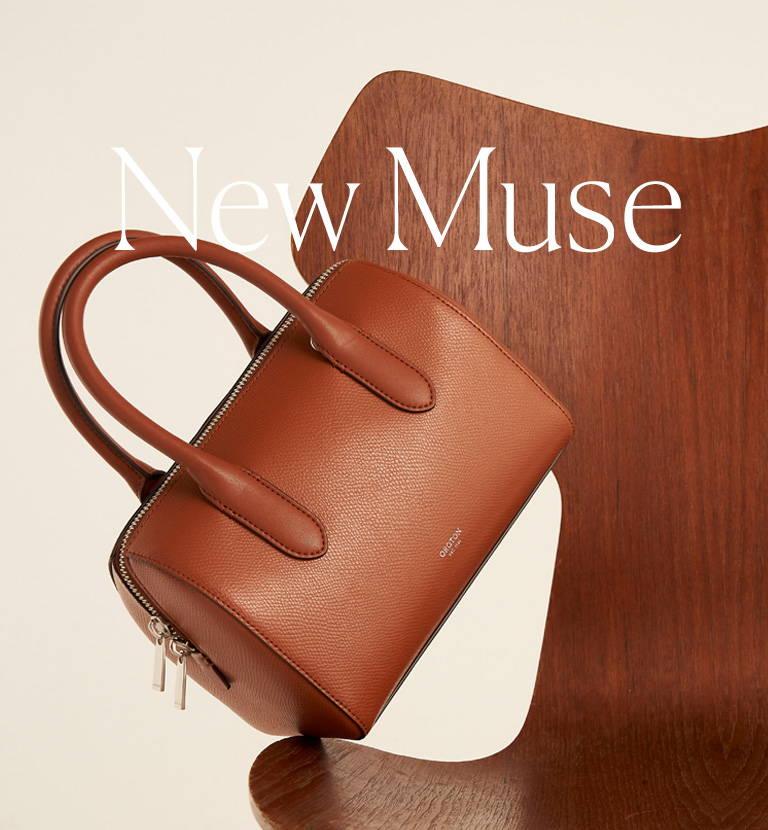Oroton A21 Muse Bowler Bag in Cognac