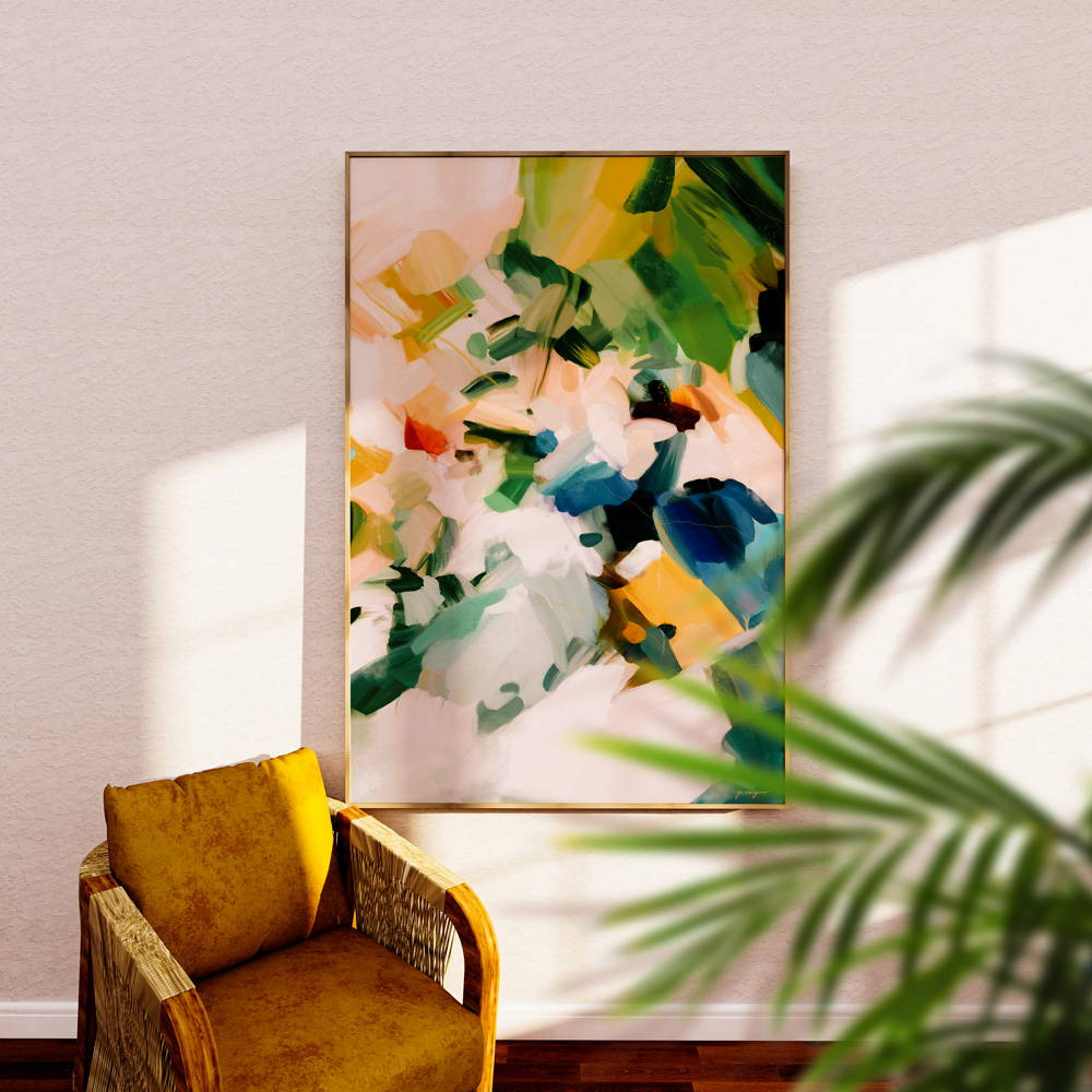 Birds of Paradise- Oversized wall art for a year round tropical living room - abstract art by Parima Studio