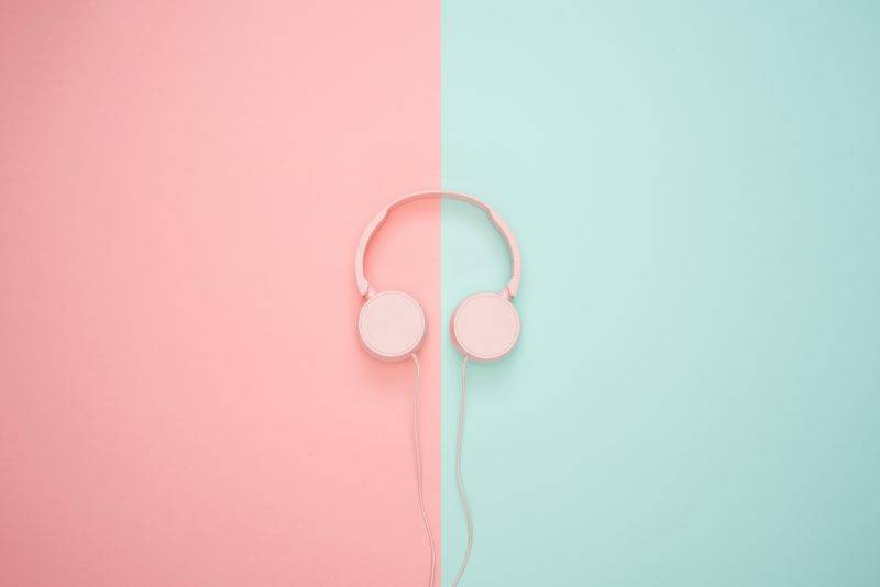Pink And Blue Headphones