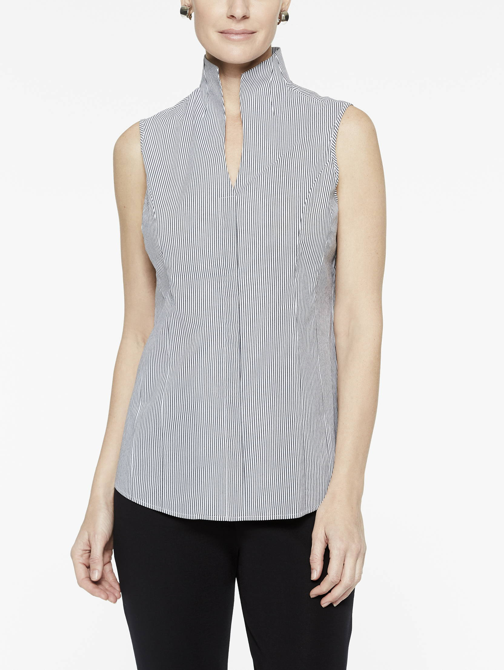 Pinstripe Sleeveless Stretch Cotton Blouse in Black and White