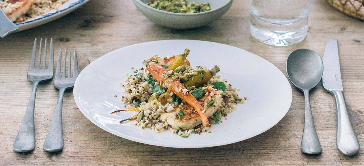 Honey Roast Carrot, Halloumi & Freekeh Salad