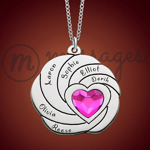 Silver Spiral Pink Heart Family Necklace