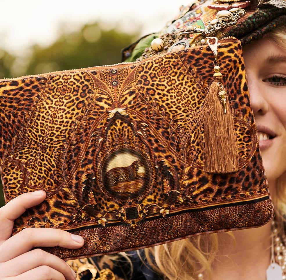 CAMILLA leopard clutch, camilla leopard bag