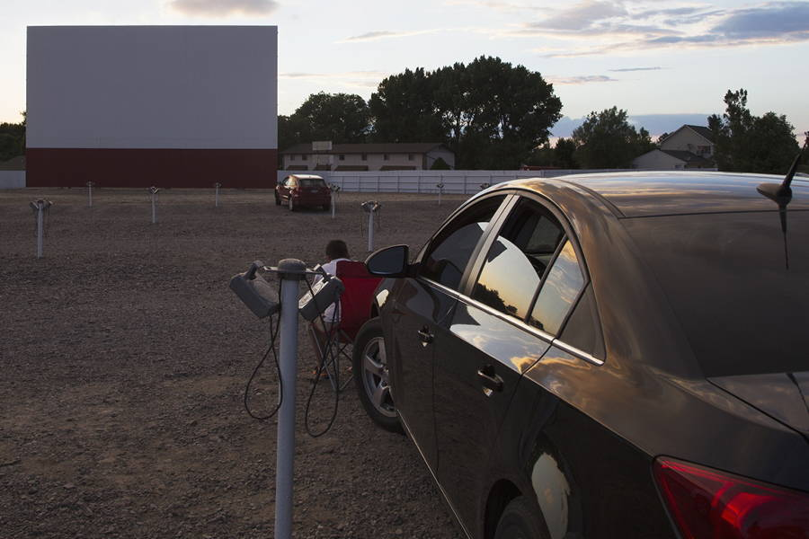 car parked at drive in theater
