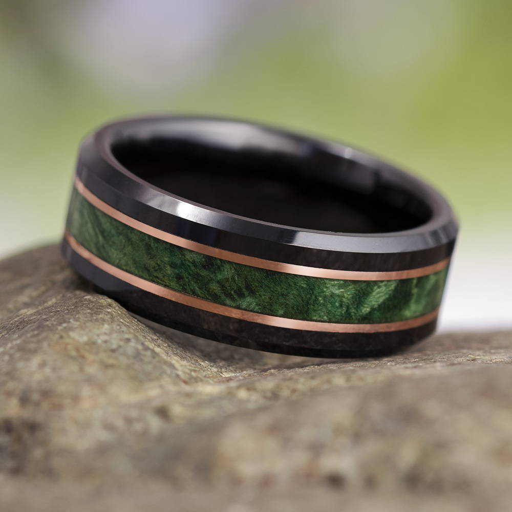 Green Box Elder Ring With Copper Pinstripes