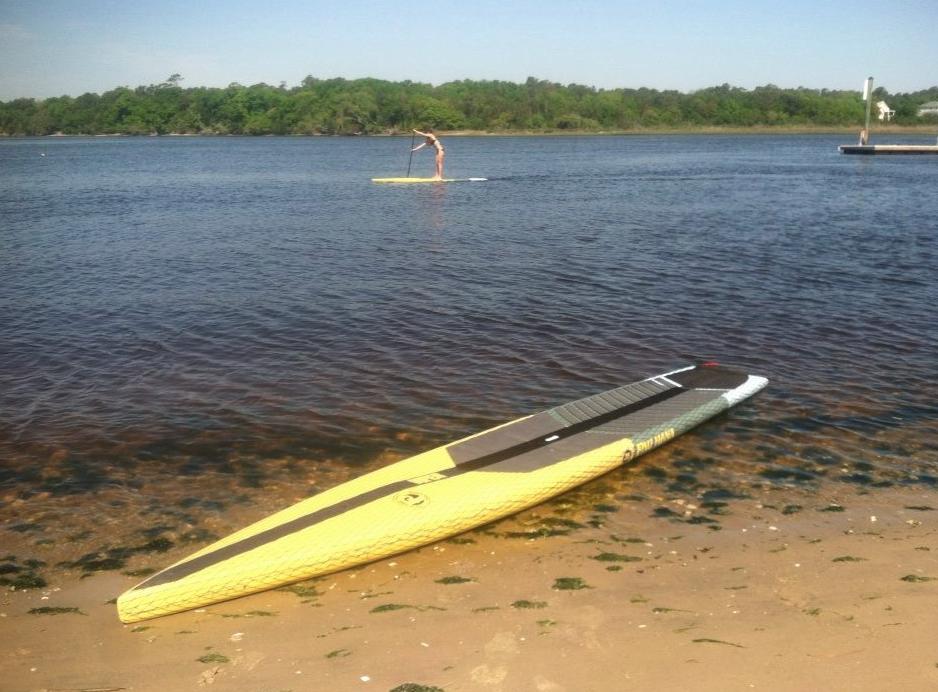 Viper pau hana paddle board racing on the lake