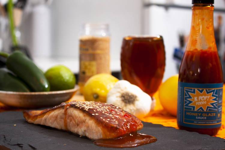 salmon with honey glazed gochujang sauce