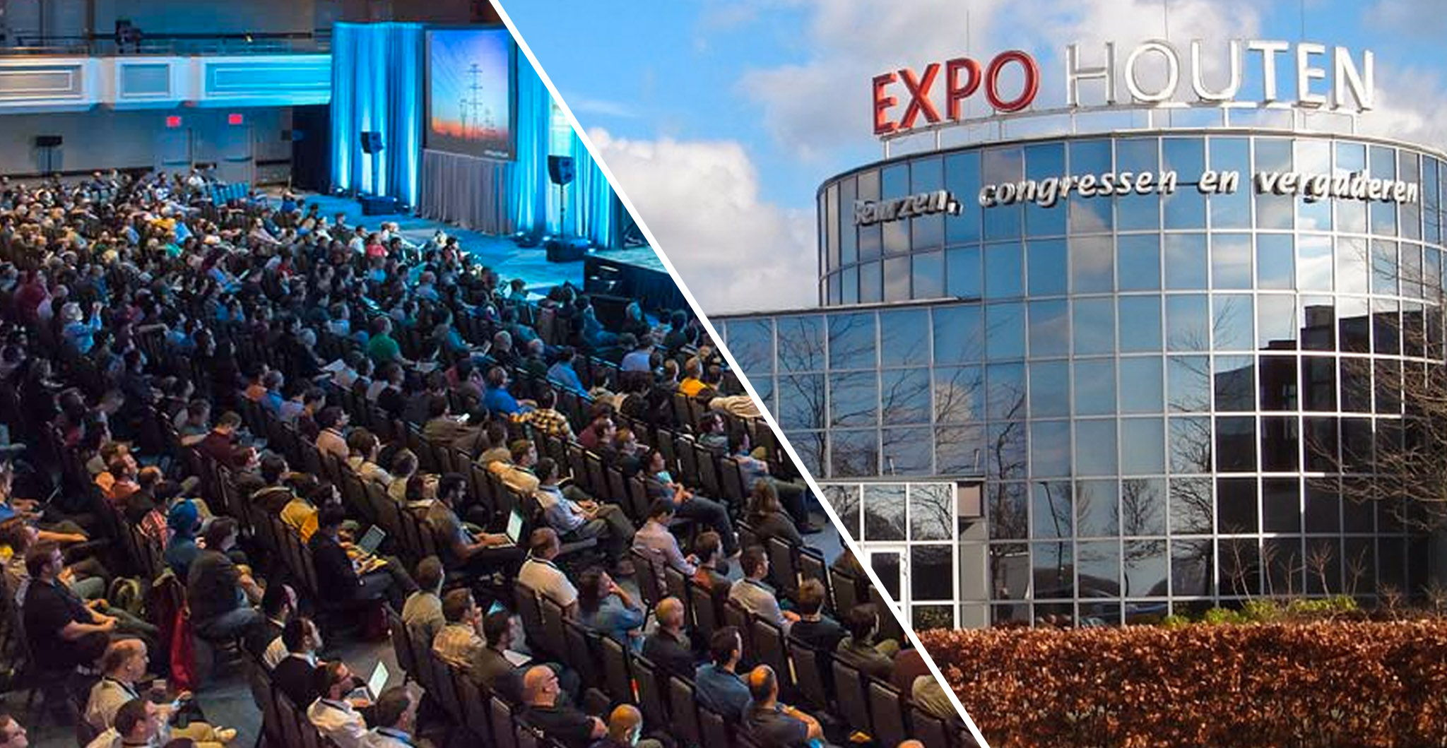 Collage of Expo Houten building and audience