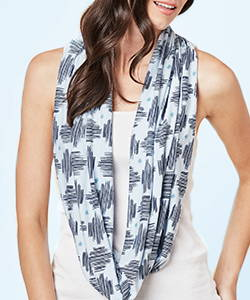 This is J bamboo circle scarf, hatch light blue.