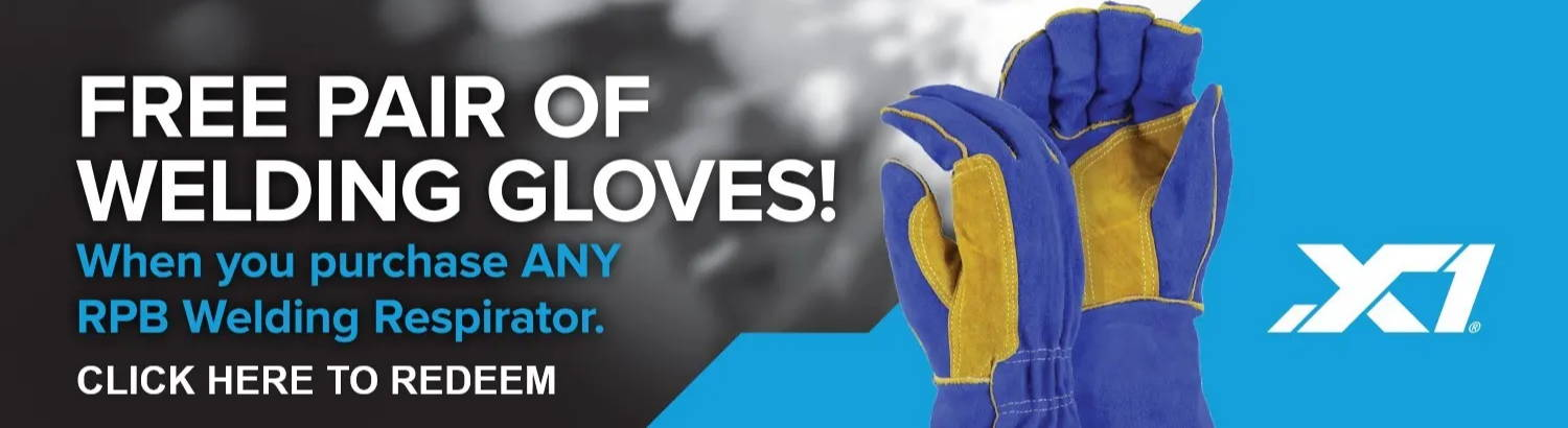 Free pair of welding gloves with purchase of PAPR Respirator Helmet for welders