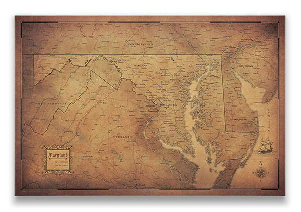 Maryland Push pin travel map golden aged