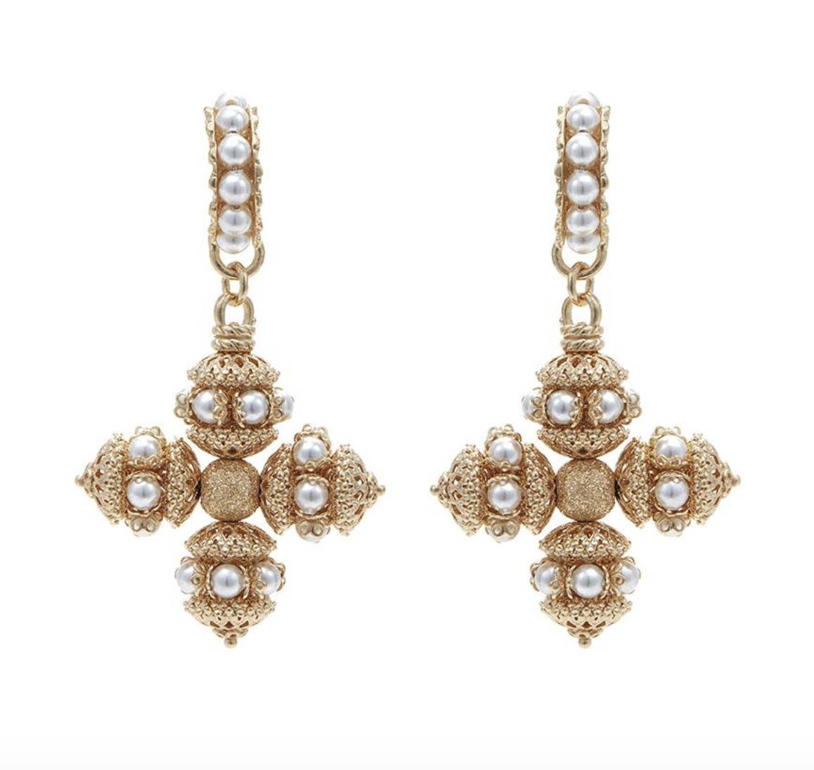 soru pearl santina cross earrings gold